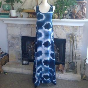 C&C California indigo tie dye maxi dress